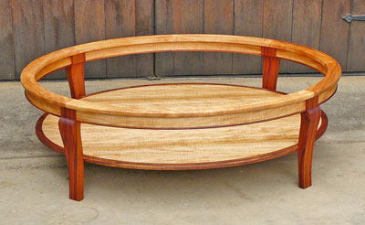 oval koa coffee table
